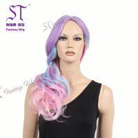 广州斯瑞泰舞会假发批发长卷发彩色假发头套厂家直销