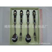 不锈钢韩式陶瓷柄餐具厂家生产 节庆用品餐具 高档韩式陶瓷柄餐具