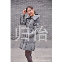 红豆羽绒服3032 女式中长修身时尚相思豆厂家回笼资金 上海羽绒服
