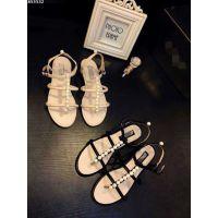 欧洲站2015夏季新款小香珍珠凉鞋平底平跟夹趾真皮凉鞋女鞋