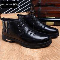 广州直销2014冬季新款加绒皮鞋男式真皮头层纯羊毛男鞋休闲中帮鞋