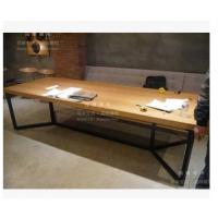 美式复古实木铁艺餐桌咖啡酒吧星桌办公桌会议长桌谈判桌