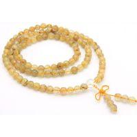 特价新品 天然金发晶108颗佛珠手链 钛晶多圈手链手串 水晶手链