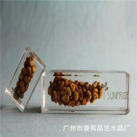 晶艺工艺品-水晶胶内放猫屎咖啡豆,款式尺寸可定制,欢迎咨询
