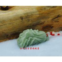 玉石工艺品  天然豆色翠玉白菜男女款吊坠玉饰 产地货源厂家直销