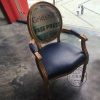 新古典餐椅布艺椅子实木椅子简约欧式扶手椅餐厅餐桌椅酒店布艺椅
