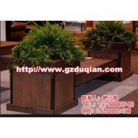大型商场商业街户外实木座椅花箱,连体花坛