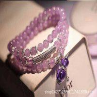 世程手饰手链批发 S925纯银葫芦吊坠 天然6mm紫玉水晶手链
