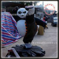 厂家直销 玻璃钢卡通功夫熊猫雕塑 卡通电影人物雕塑 景观雕塑