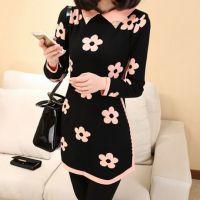 春季韩版新款女式修身针织衫打底衫毛衣裙花朵中长款翻领长袖毛衣