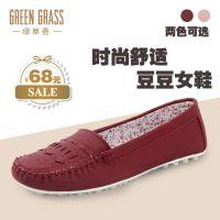 新款潮女鞋 品牌外贸单鞋 时尚舒适平底妈妈鞋 外贸豆豆鞋女批发