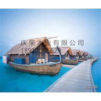 庆荣木业供应木质房船画舫船仿古木船电动观光船餐厅船