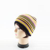 外贸出口儿童针织帽子 欧美风拼色条纹包头护耳针织毛线帽子
