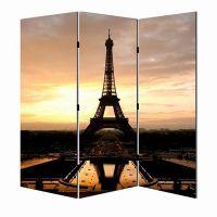 时尚木质屏风 3扇办公家居 欧式艾菲尔铁塔图案折叠屏风出口