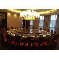 酒店红木配套桌椅 刺猬紫檀红木2.6米电动圆餐桌名琢世家厂家生产定制