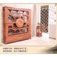 古典中式名琢世家刺猬紫檀龙凤博古架隔厅柜