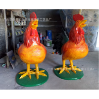 十二生肖鸡雕塑 优质玻璃钢大公鸡雕塑批发 现货供应