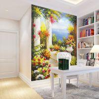 欧式油画玄关地中海风景壁画 现代美式乡村壁纸 大型无纺布墙纸