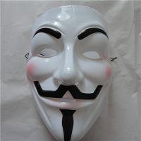 供应v字仇杀队面具 v字白色面具 游行聚会面具 PVC面具 经典电影主题面具