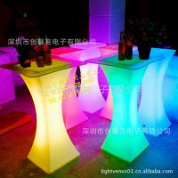 供应LED发光方凳 led发光桌子 吧台 led酒吧家具系列 发光咖啡台