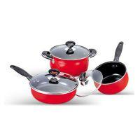喜美多三件套  红色底会议商务广告促销礼品套装 汤锅煎锅奶锅