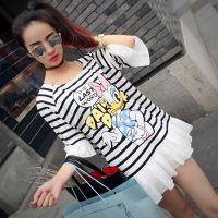 『小小彬』2015夏装新款 米妮卡通印花棉麻拼接插肩袖条纹T恤女
