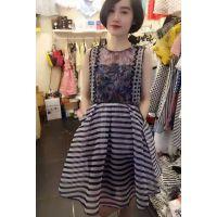 dazzle/地素2015夏正品代购新款女装无袖欧根纱花色连衣裙252O361