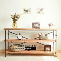 创意实木家具 美式置物架 铁艺收纳架 展示架 厨房置物架杂物架