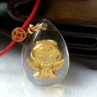 晶美金镶金天使宝宝琥珀吊坠天然 镶千足金女士款式儿童礼品