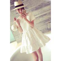 小银子2015夏装新款气质名媛女人味暗纹拼接短袖连衣裙女Q6151