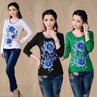 中国风复古 原创女装长袖立体绣花T恤 打底衫 女