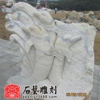 加工大理石工艺品海豚 汉白玉抽象海豚石雕摆件 石雕海豚小品