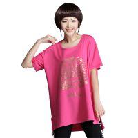 2015新款前短后长短袖t恤女韩版中长款t桖大码体恤蝙蝠袖打底衫潮