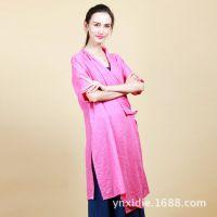 新款 民族风原创女装 文艺风薄棉系带七分袖长衫 长款衬衣 上衣