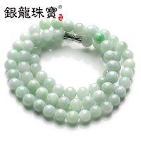 银龙珠宝 正品纯天然A货豆种缅甸翡翠圆润玉珠女士项链 批发代理