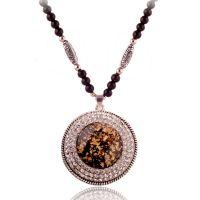 N409项链女欧美时尚夸张复古佛珠链满钻碎贝水晶长款毛衣链挂件