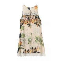 欧美风2015夏女式新品人棉印花蕾丝拼接无袖背心裙连衣裙 女