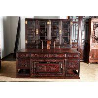 大红酸枝清式书柜2件 2米清式大班桌2件