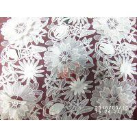 供应雪纺双层绣花面料雪纺立体绣花花边面料