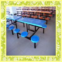 湛江食堂专用玻璃钢餐桌椅 6人位玻璃钢餐桌 户外玻璃钢餐桌
