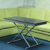 特价促销时尚客厅钢化玻璃钢架升降功能茶几变餐桌