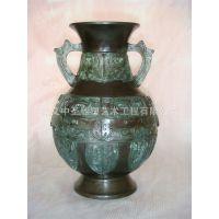 纯铜精铸 双耳 浮出图案  葫芦形  花瓶仿古精雕工艺摆件