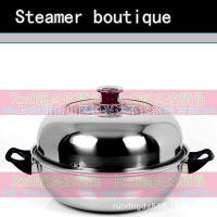 不锈钢蒸锅 28CM加厚汤锅带蒸片电磁炉专用蒸锅 特价正品加厚锅