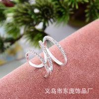 新款韩版戒指 时尚戒环精品满钻戒指 地摊货源批发 厂家直销