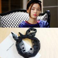 韩版流行 来自星星的你全智贤同款 圆点网纱可塑发带头箍发饰