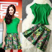 2015欧美春夏新款女装时尚气质绿色短袖上衣绿花裙子两件套
