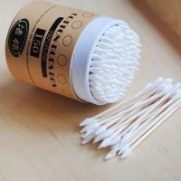厂家直销美容清洁棉签一次性木棒卫生消毒圆形米色包装棉棒批发