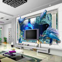KTV主题背景壁画效果 量贩式KTV酒吧墙画 3D海底世界大型壁画