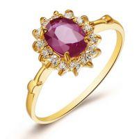 易燃火山正品 18K黄金首饰天然红宝石戒指 黄金指环 女GR0001R