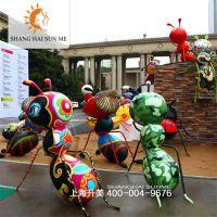 【上海升美】彩绘蚂蚁玻璃钢雕塑户外卡通模型租赁泡沫道具制作